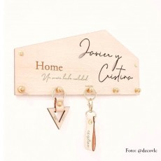 """Cuelgallaves de madera """"HOME"""" 
