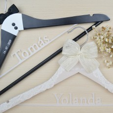 """Pack perchas personalizadas """"Lace+tuxedo"""" 