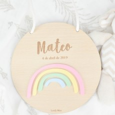 Placa madera rainbow| Lovely Mint